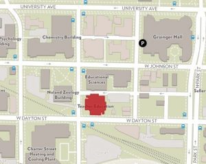 map image showing the section of campus where the techer education building is located. teacher education building is highlight the color red.