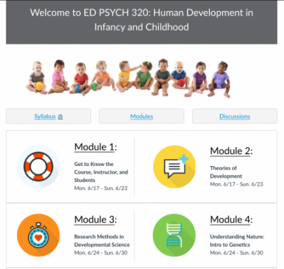 A screenshot of Ed Psych 320 Canvas page.